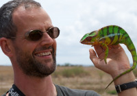 Michel with a panther chameleon